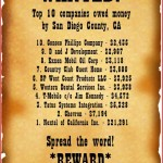 10 Most Wanted businesses in San Diego County, California for lost money