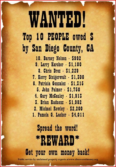 10 Most Wanted - Discovered Money - free lost money search
